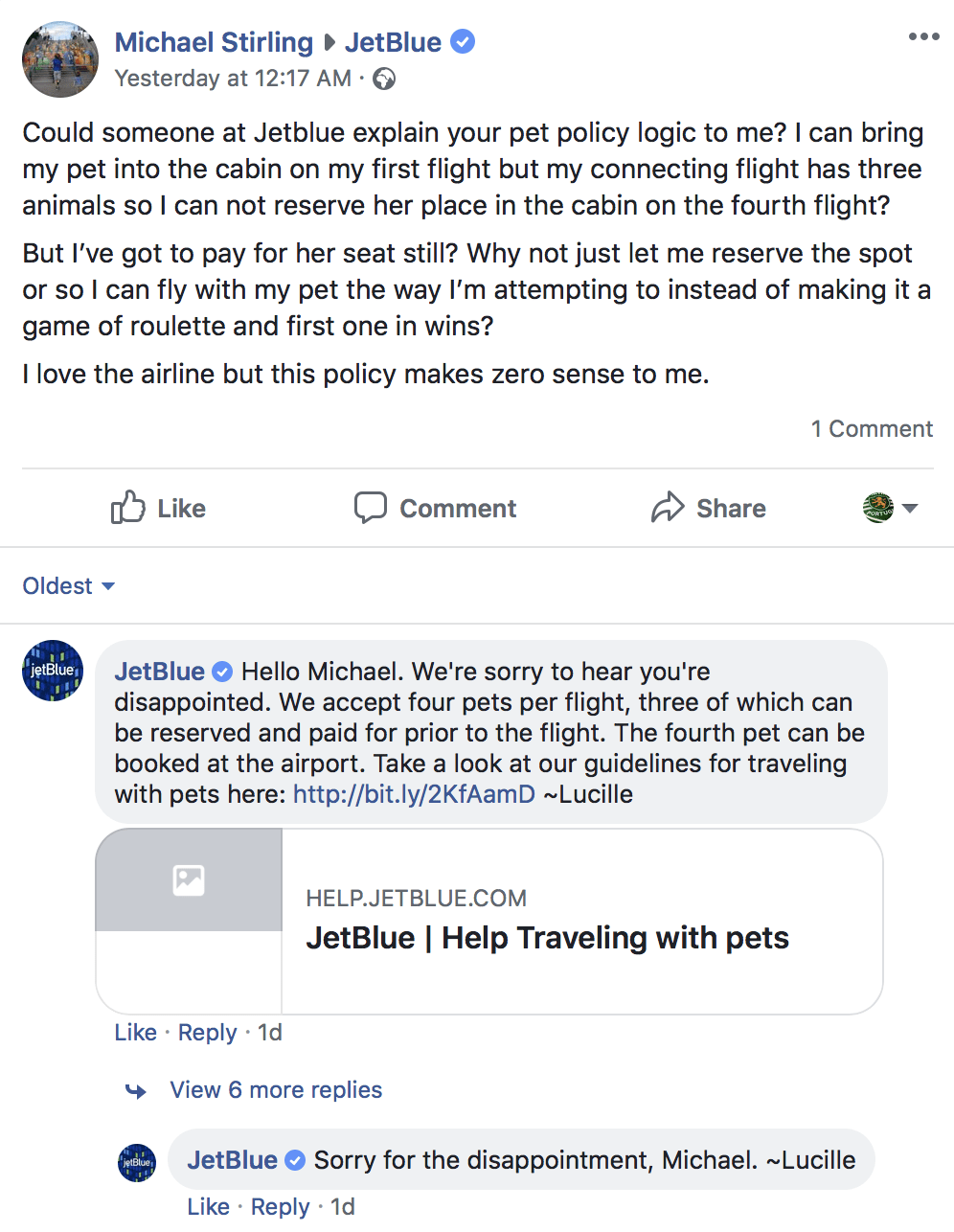 Conversation on JetBlue's Facebook page