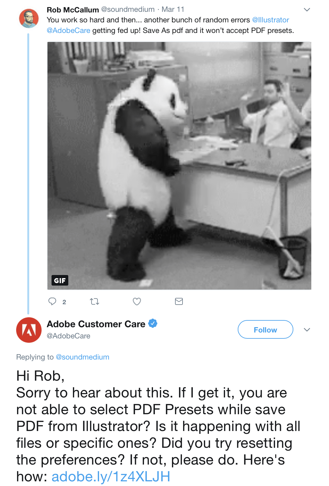 Adobe answers to a customer complaint on Twitter